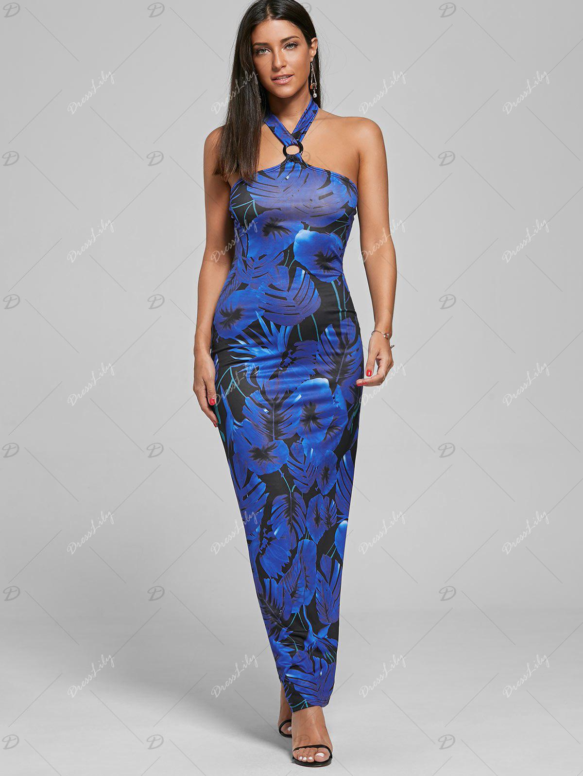Print Halter Maxi Bodycon Prom Dress - BLUE XL