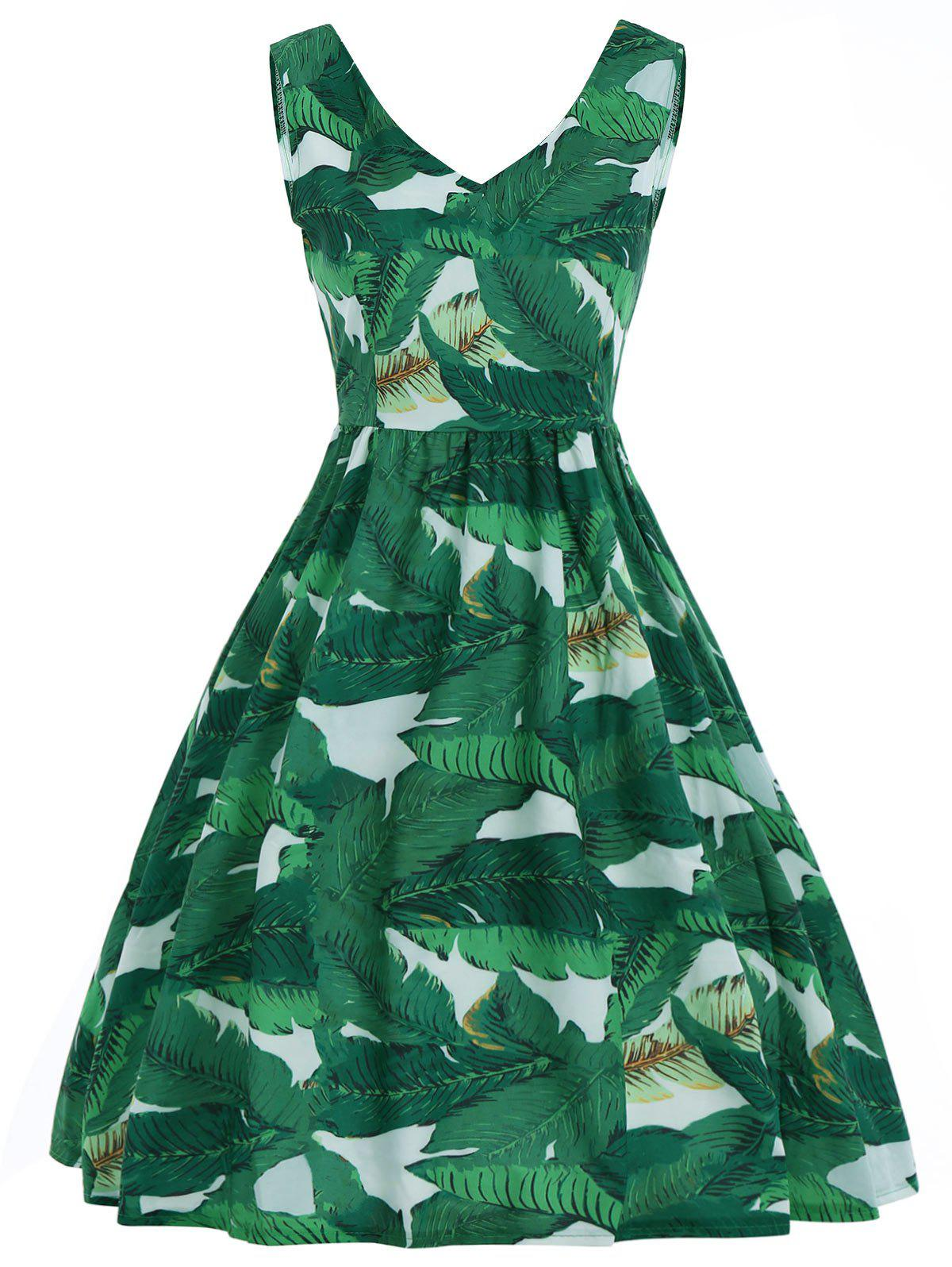 A Line V Neck Tropical Leaf Print Dress - DEEP GREEN XL