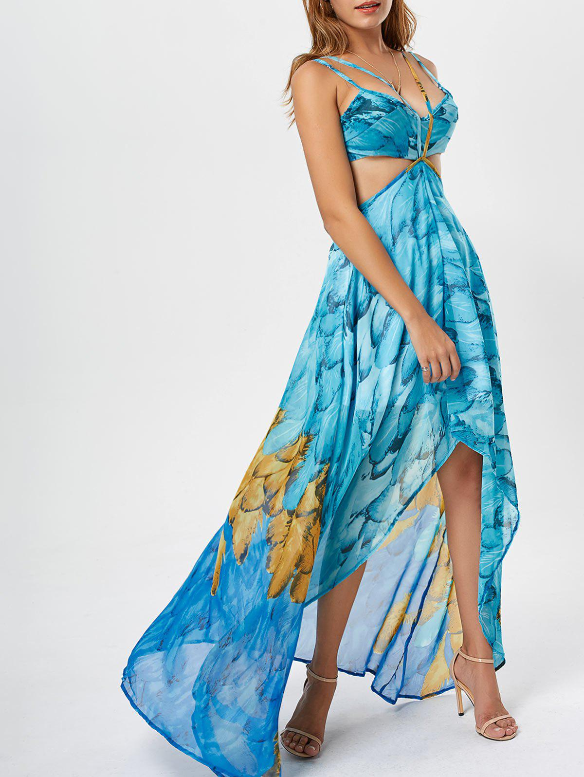 Printed Chiffon Cutout High Low Dress - LIGHT BLUE S