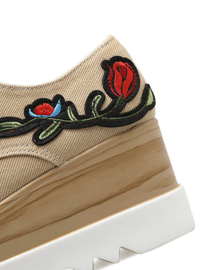 Square Toe Embroidery Denim Wedge Shoes - APRICOT 38