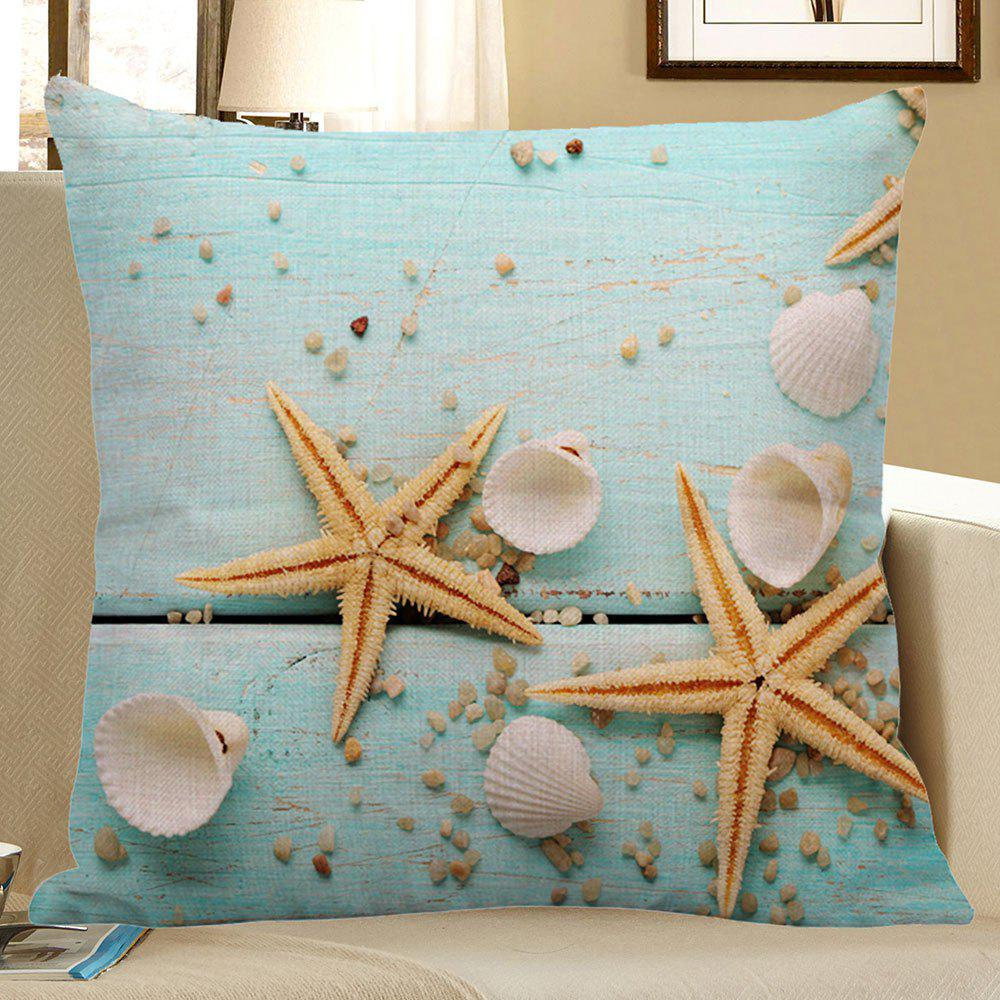 Starfish Sea Shell Printed Linen Pillow Case starfish beach style pillow case
