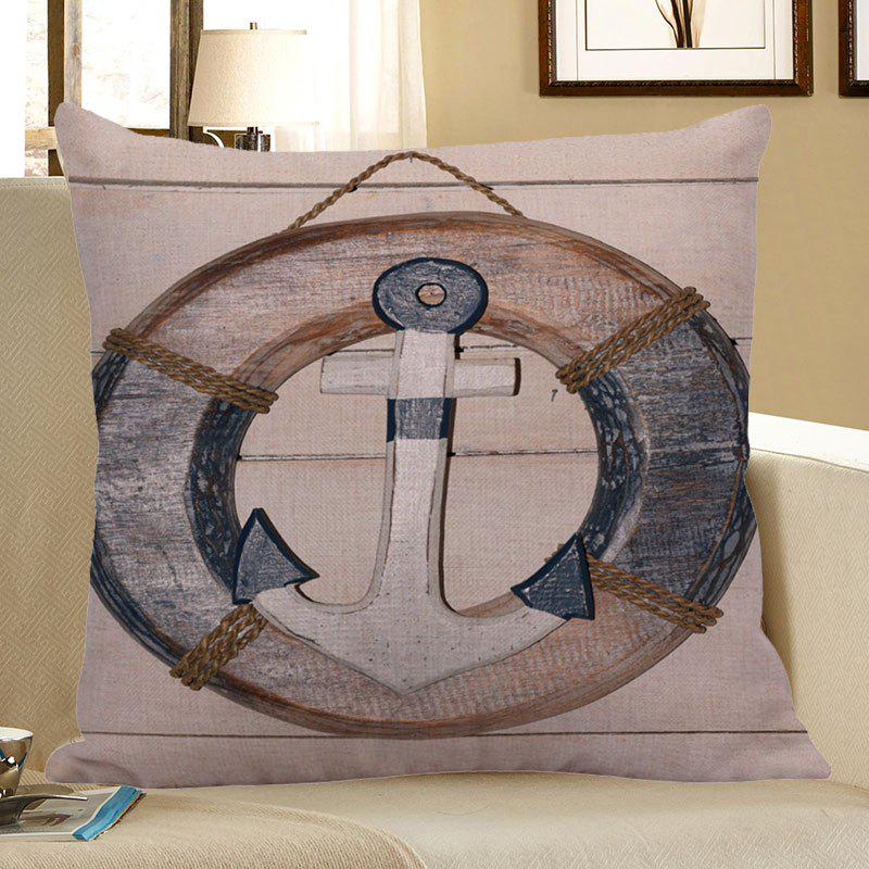 Anchor Steering Wheel Wood Grain Pillow Case - LIGHT BLUE 45*45CM
