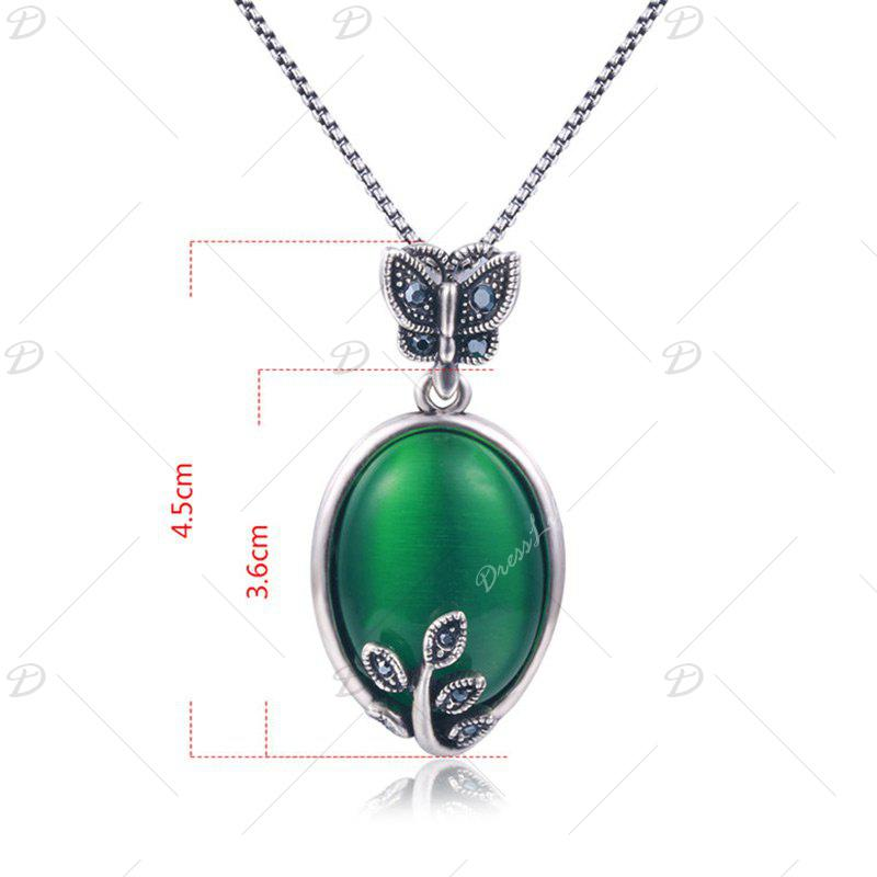 Faux Emerald Oval Butterfly Necklace - Vert
