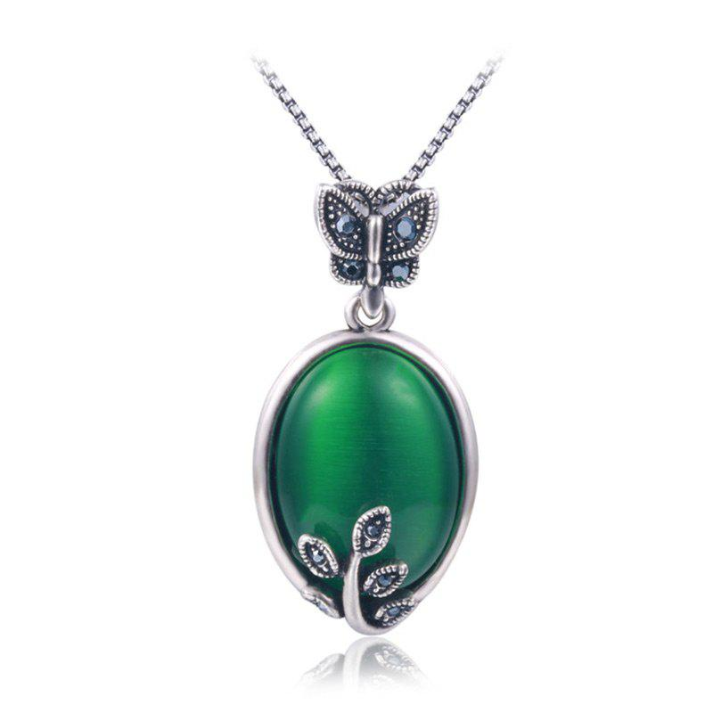 Collier Papillon Faux Emeraude Ovale - GREEN