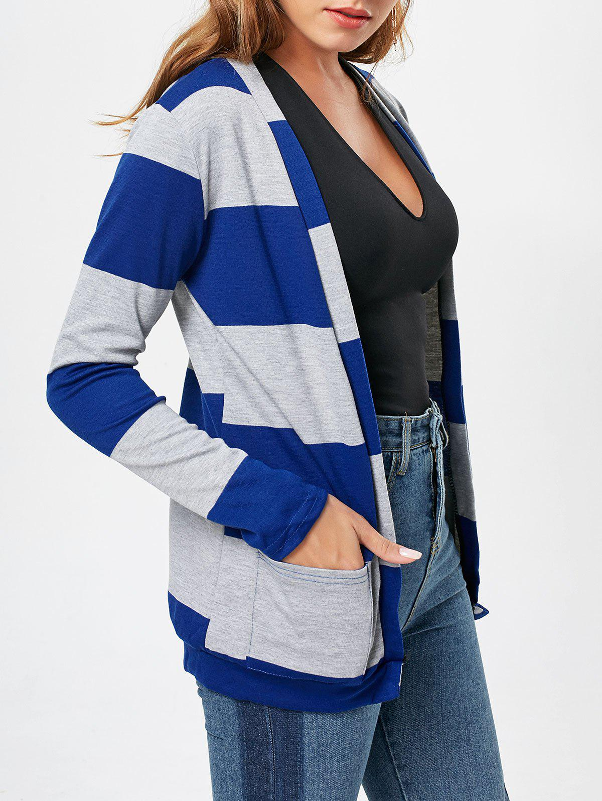 Charming Broad Striped Long Sleeve Cardigan For Women - BLUE S