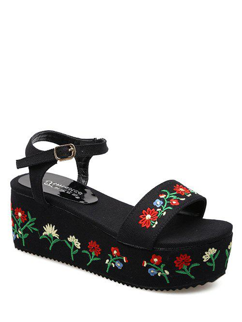 Embroidery Platform Denim Sandals - BLACK 38