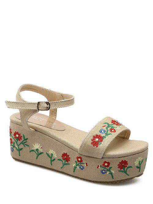 Embroidery Platform Denim Sandals - APRICOT 39