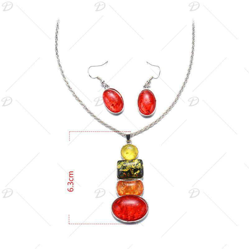 Faux Gemstone Oval Collier et boucles d'oreilles Set - multicolorcolore