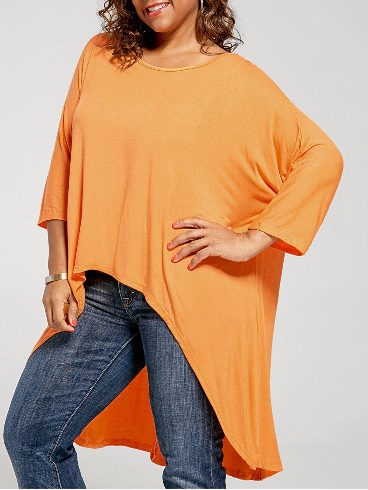 T-shirt Tunique Haut-Bas Grande Taille - Orange 4XL
