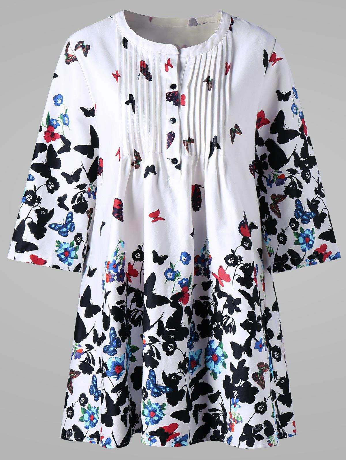 Plus Size Butterfly Print Pintuck Smock Blouse plus size balloon sleeve smock blouse