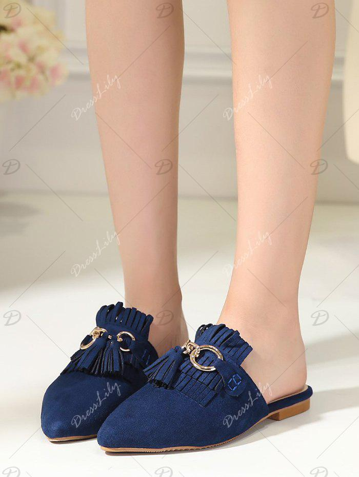 Pointed Toe Tassels Slippers - BLUE 37
