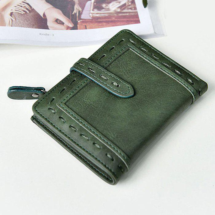 Faux Leather Stitching Small Wallet - Vert