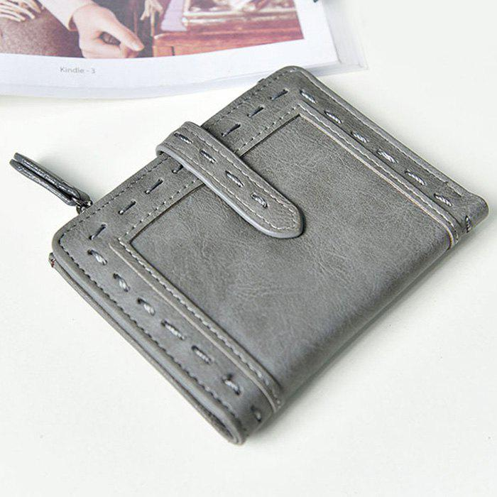 Faux Leather Stitching Small Wallet - gris