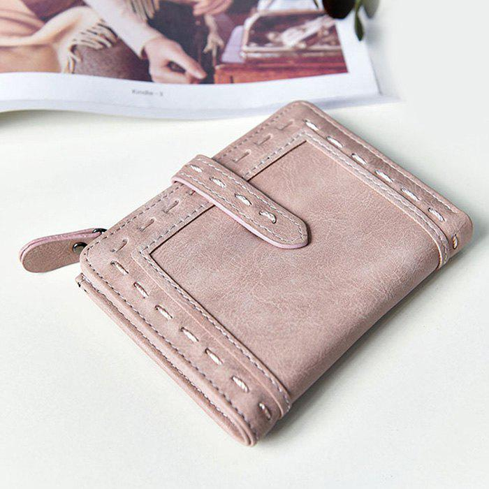 Faux Leather Stitching Small Wallet - Rose Clair