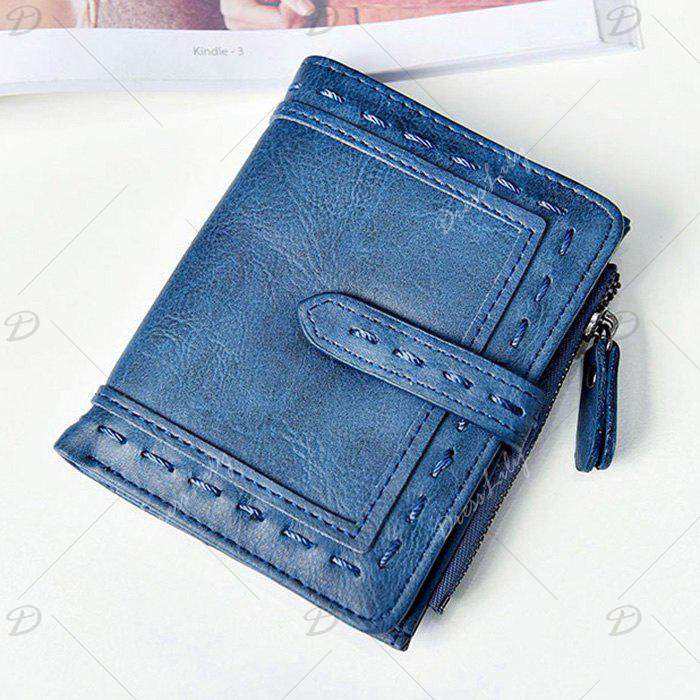 Faux Leather Stitching Small Wallet - Bleu