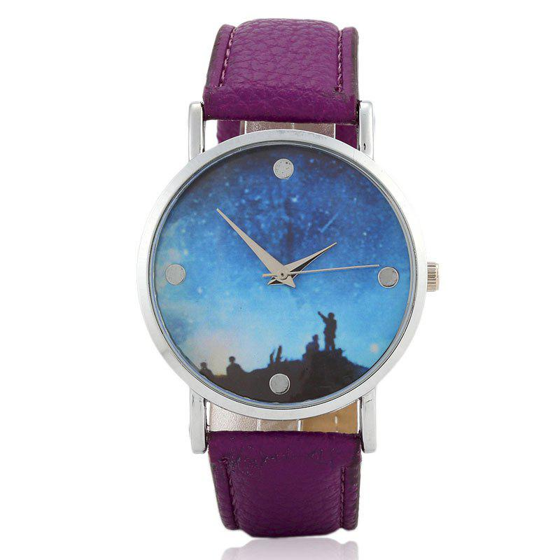 Starry Sky Face Faux Leather Watch watermelon face faux leather watch
