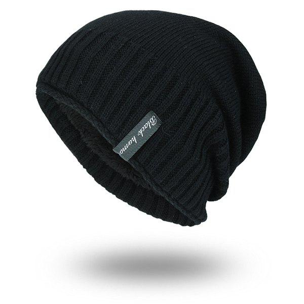 Velvet Lining Pinstriped Knitting Warm Beanie - BLACK