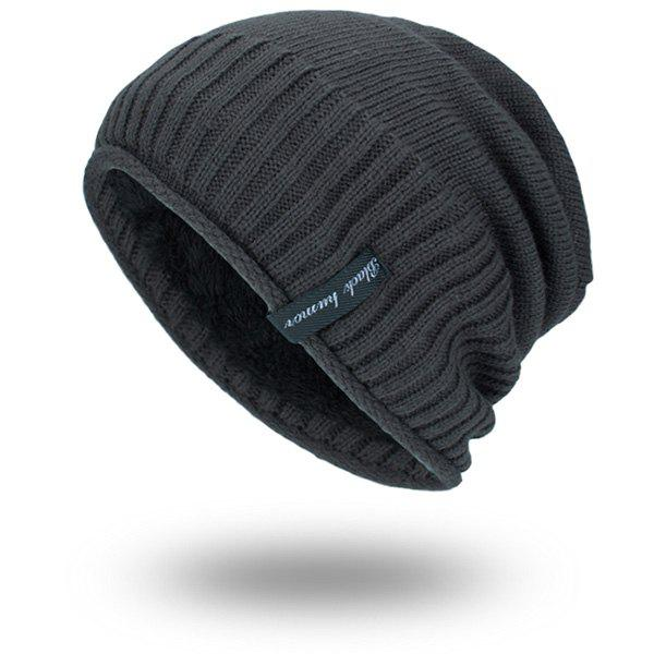 Velvet Lining Pinstriped Knitting Warm Beanie tiny rivet embellished knitting beanie