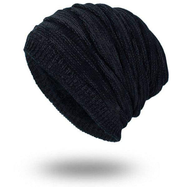 Velvet Lining Knitting Piled Beanie tiny rivet embellished knitting beanie