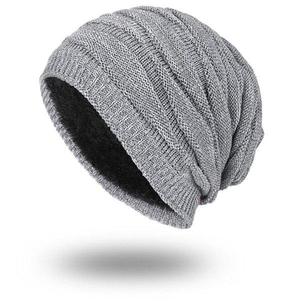 Velvet Lining Knitting Piled Beanie - GRAY