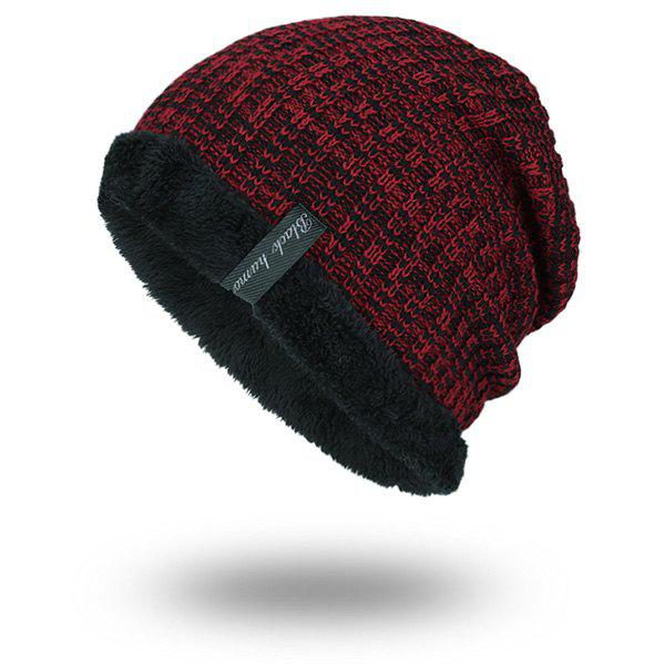 Warm Velvet Lining Knitting Beanie triangle knitting fold warm beanie