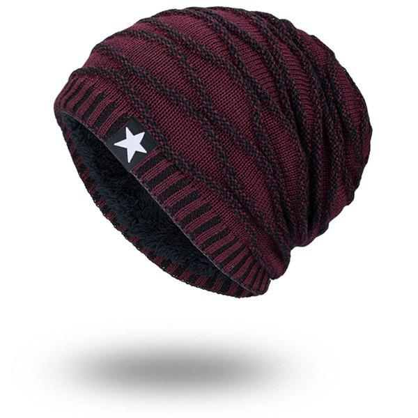 Wave Striped Velvet Lining Knitting Warm Beanie tiny rivet embellished knitting beanie