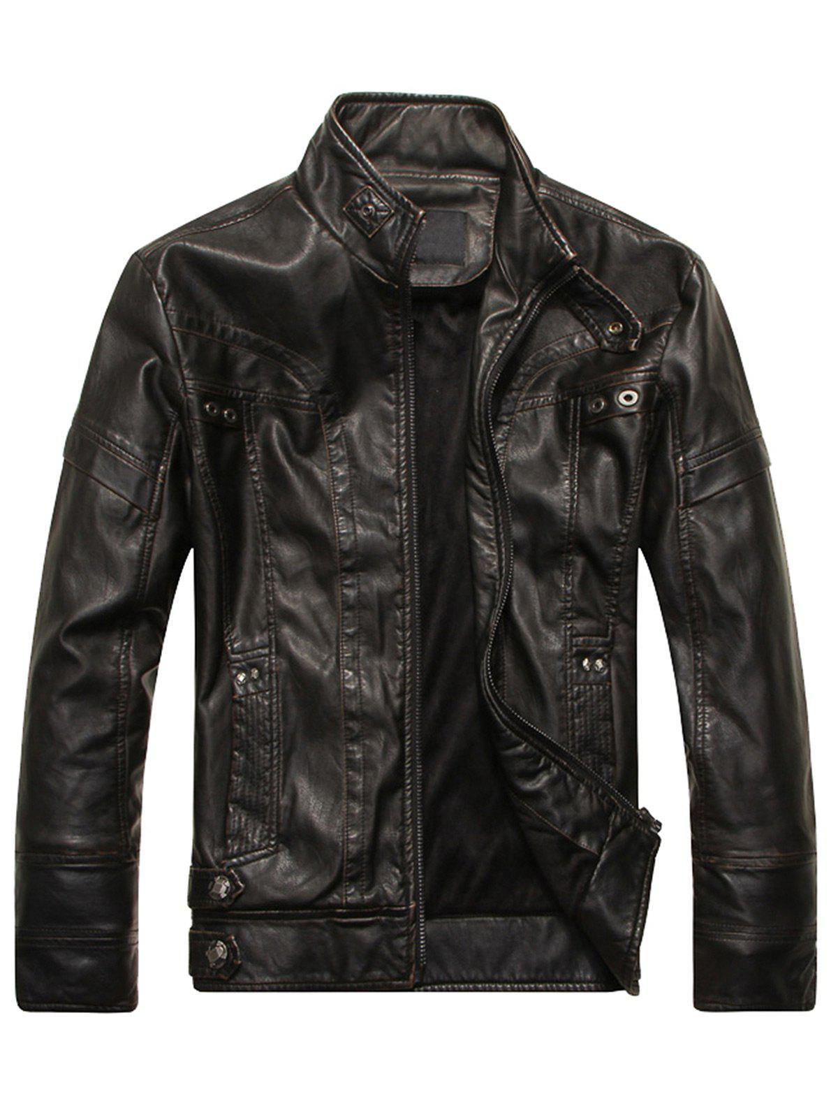 Stand Collar Panel Design Fleece PU Leather Jacket - BLACK 3XL