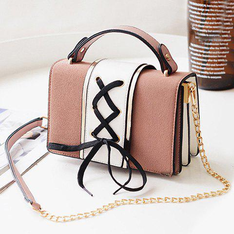 Suede Panel Lace Up Crossbody Bag - PINK