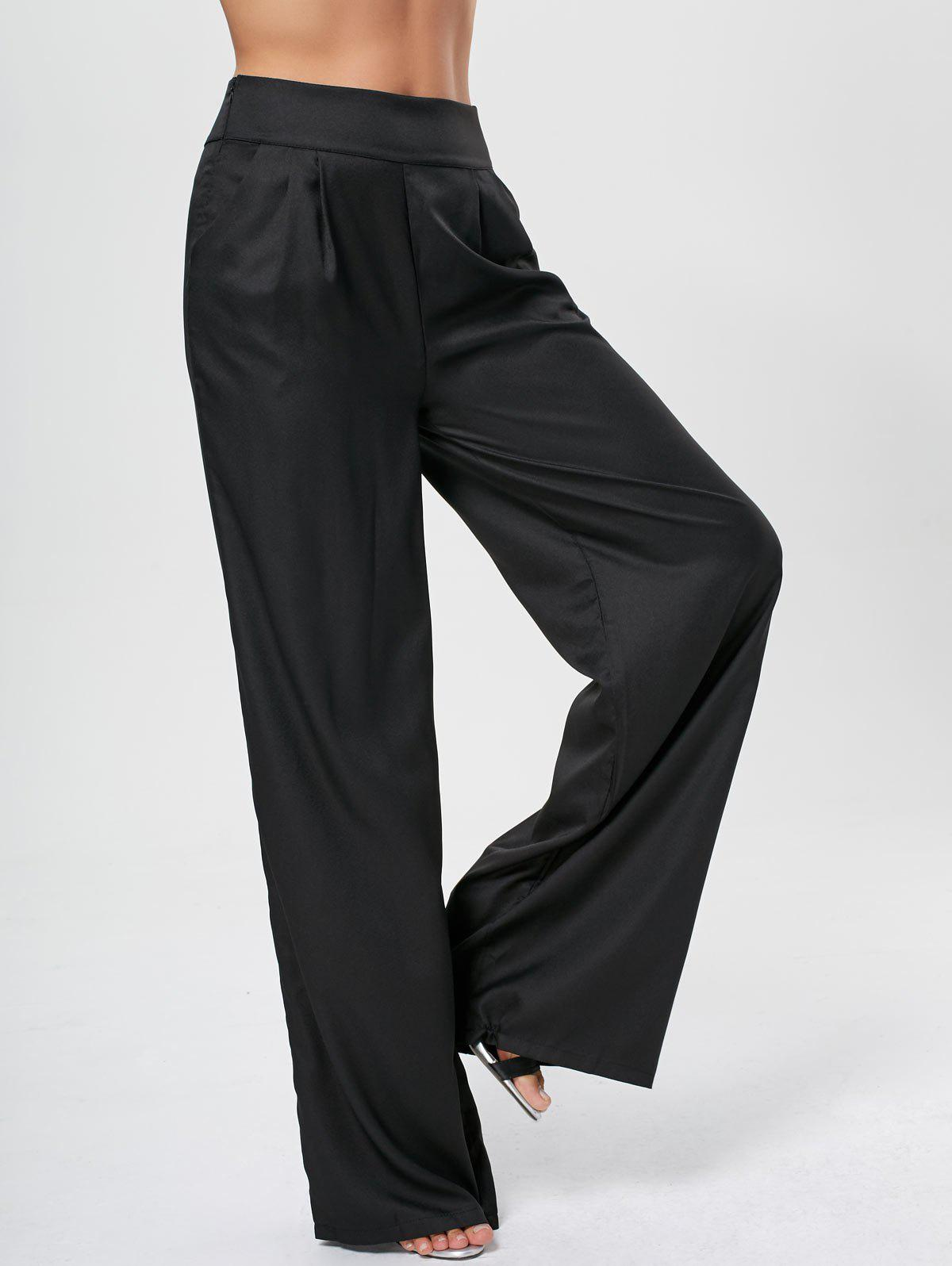High Rise Long Palazzo Pants - BLACK XL
