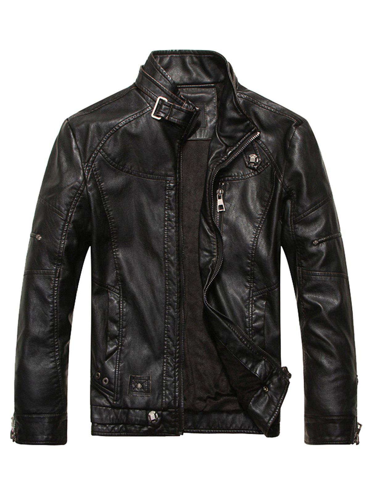 Stand Collar Fleece Zip Up PU Leather Jacket, BLACK, M in Jackets ...
