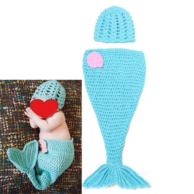 Baby Knitted Mermaid Twinset Baby Sleeping Bag Blanket - BLUE