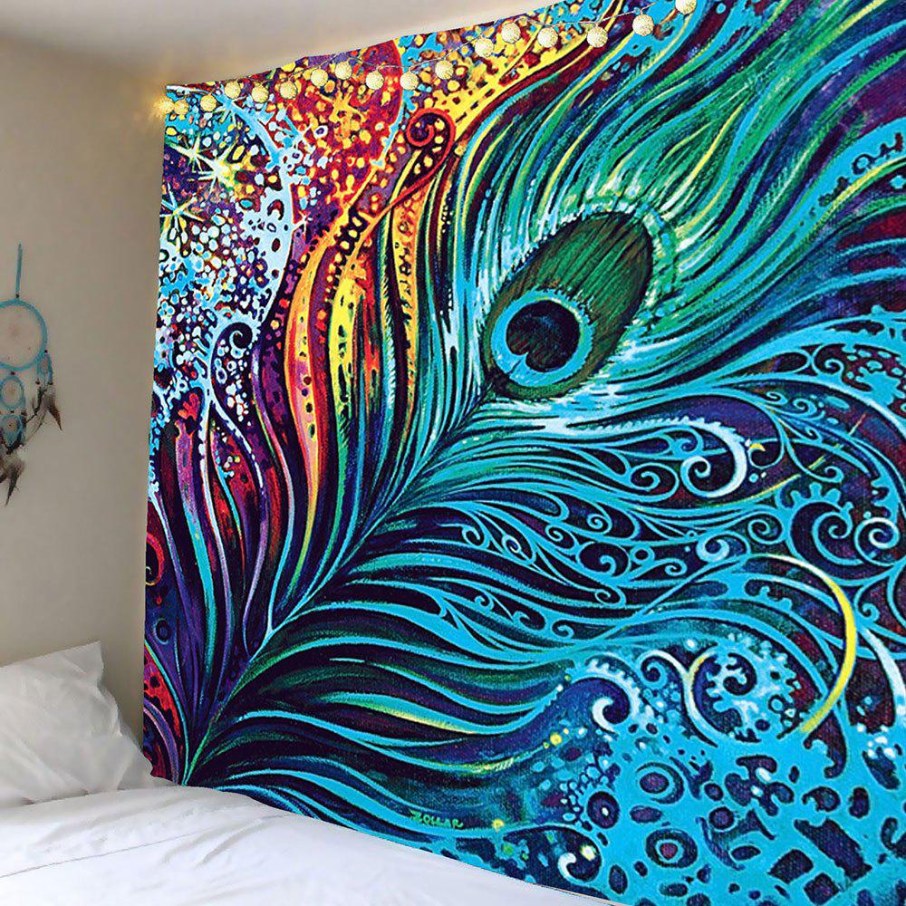Peacock Feather Print Wall Tapestry - COLORFUL W79 INCH * L71 INCH