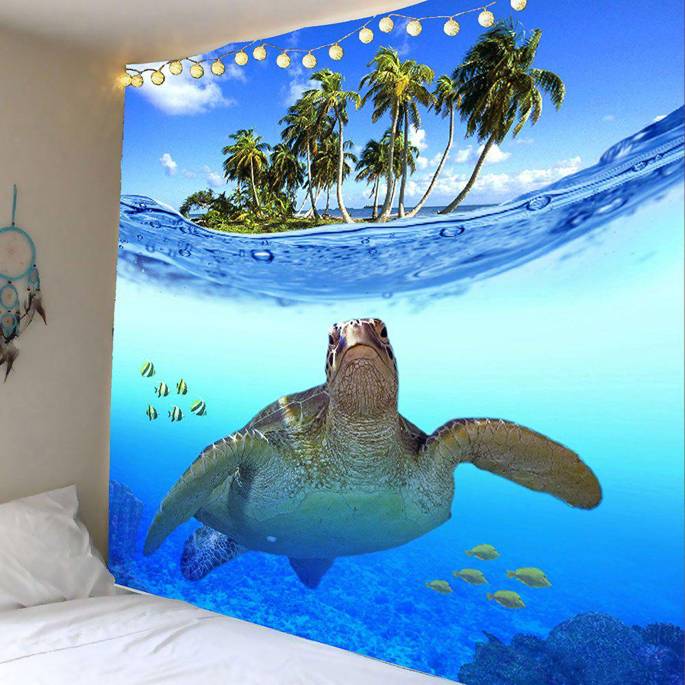 Palm Fish Sea Turtle Print Wall Hanging Tapestry - BLUE W71 INCH * L71 INCH