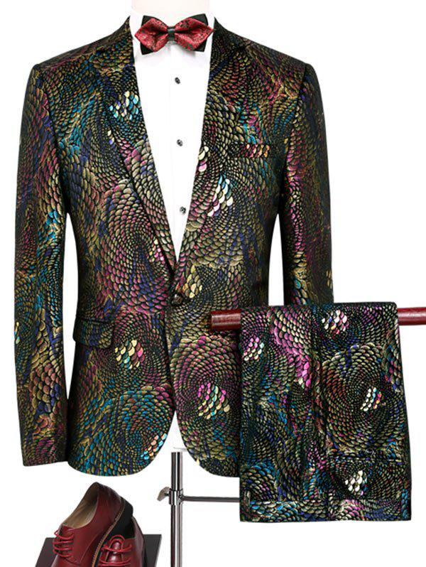 Colorful Scales Pattern Blazer and Pants Suit