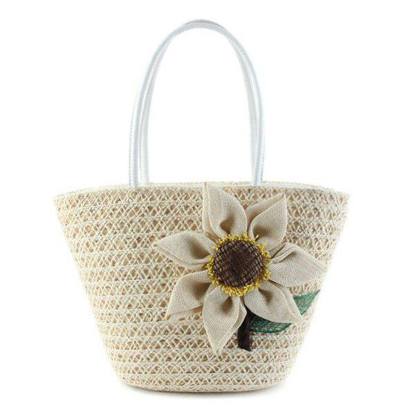 Sunflower Woven Straw Beach Bag - MILK WHITE