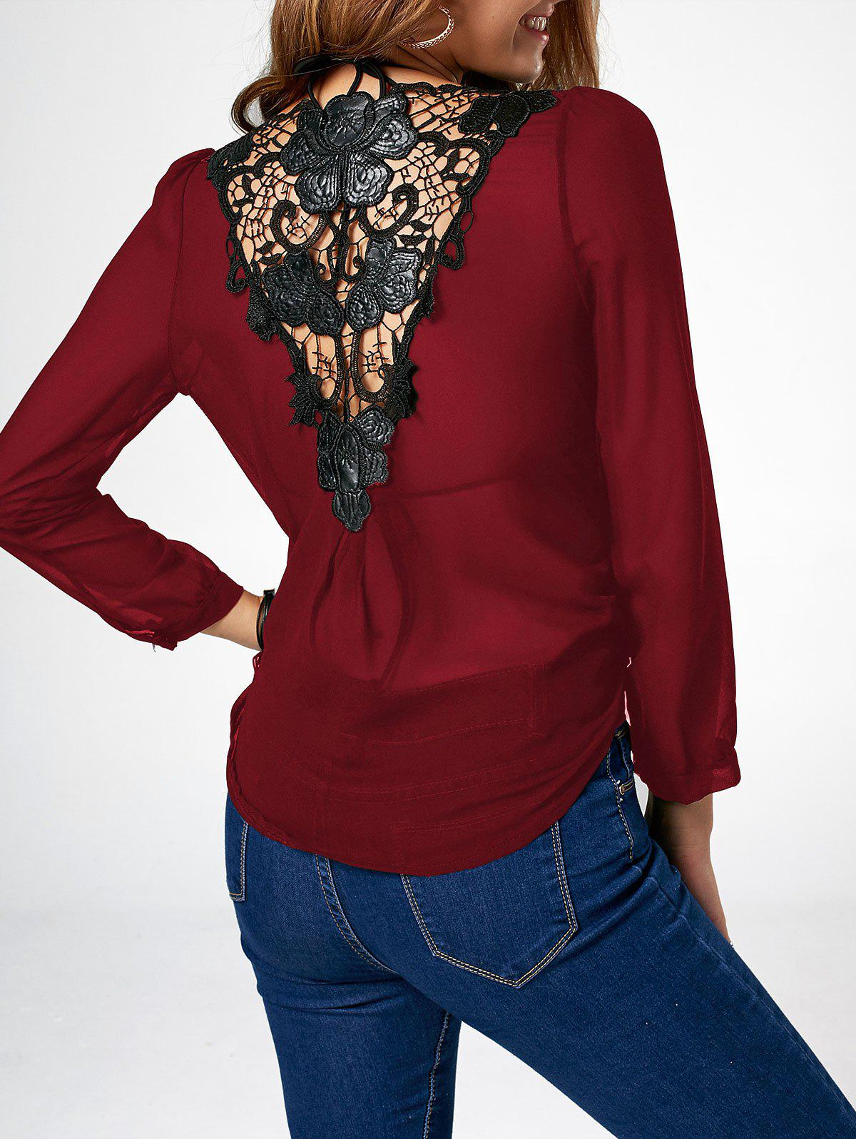 Lace Trim Chiffon Asymmetric Long Sleeve Blouse jabot chiffon long sleeve blouse