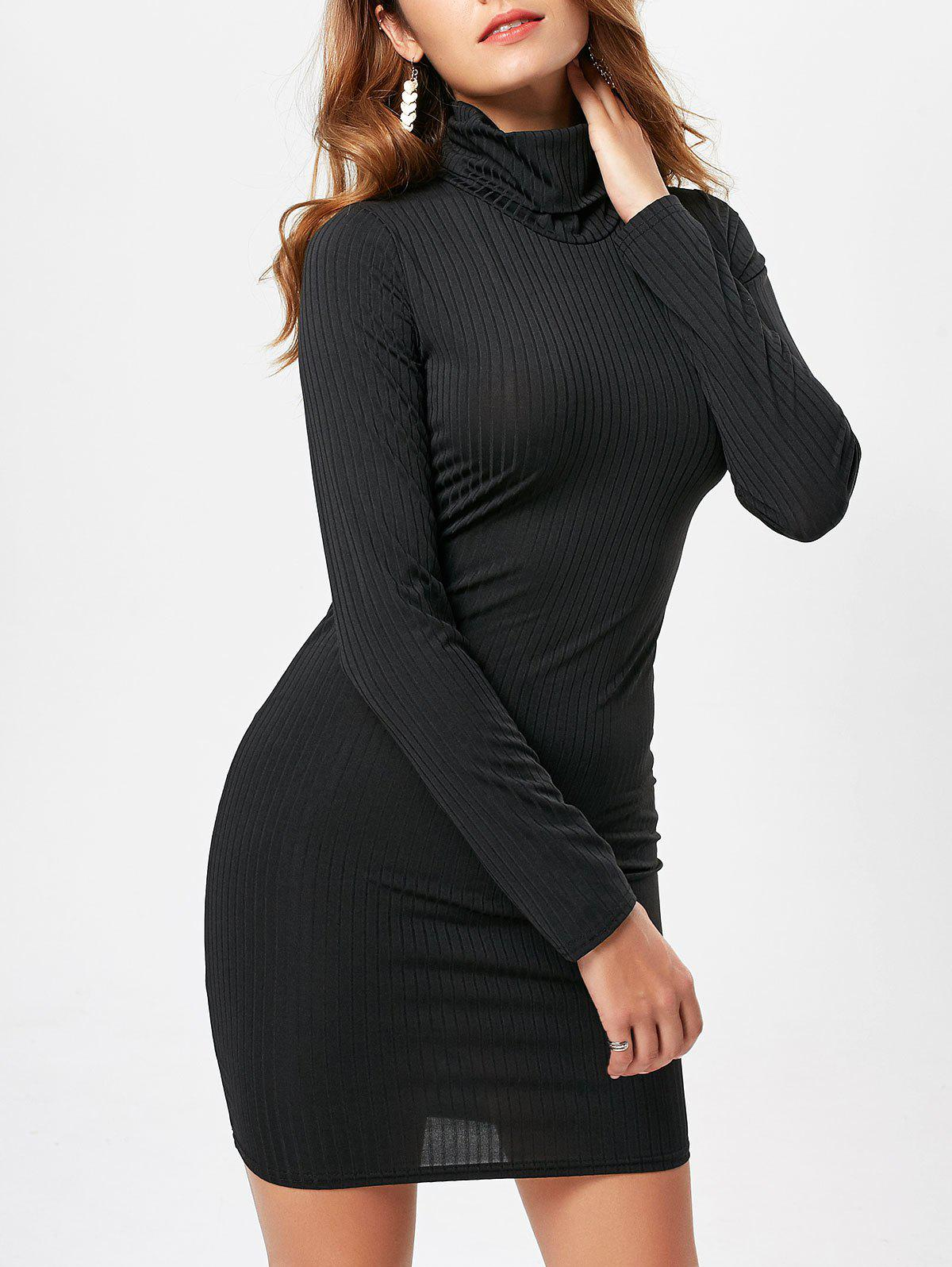 Graceful Turtleneck Long Sleeve Solid Color Bodycon Sweater Dress For Women все цены