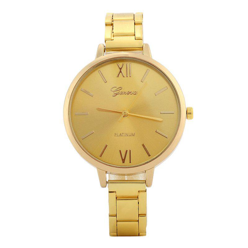 Roman Numerals Alloy Strap Watch - GOLDEN