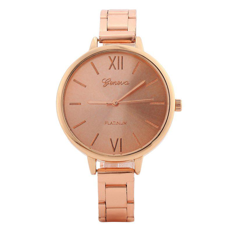 Roman Numerals Alloy Strap Watch - ROSE GOLD