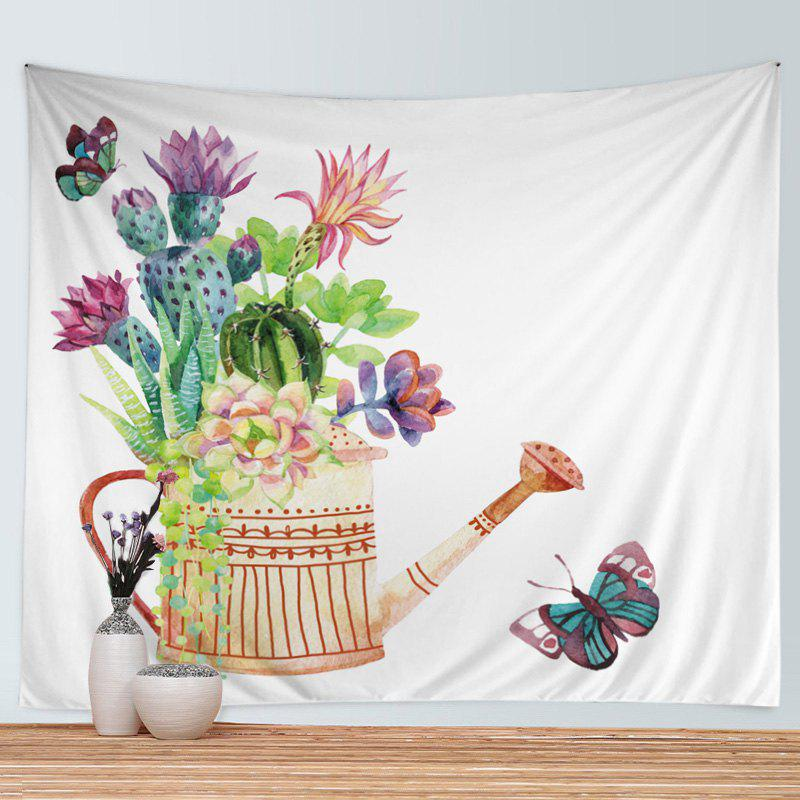 Wall Hanging Art Decor Succulents Watering Can Print Tapestry - COLORMIX W59 INCH * L51 INCH