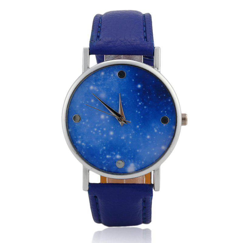 Faux Leather Starry Sky Face Watch - Bleu