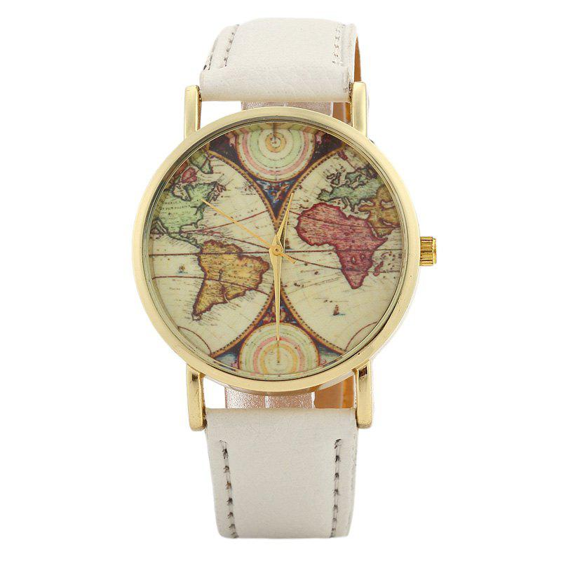 2018 world map face faux leather strap watch white in womens world map face faux leather strap watch white gumiabroncs Choice Image
