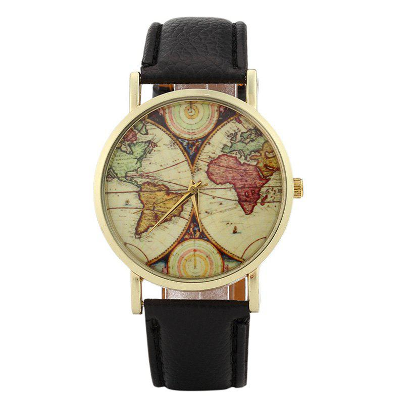 2018 world map face faux leather strap watch black in womens world map face faux leather strap watch black gumiabroncs Gallery