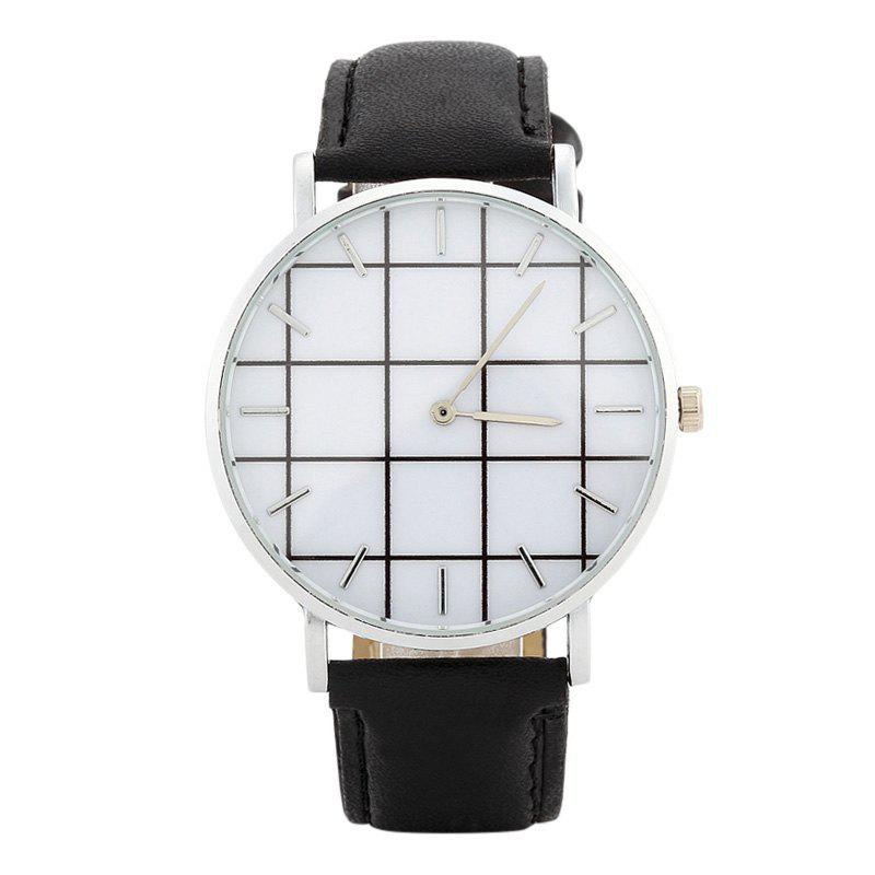 Plaid Face Faux Leather Watch - Noir