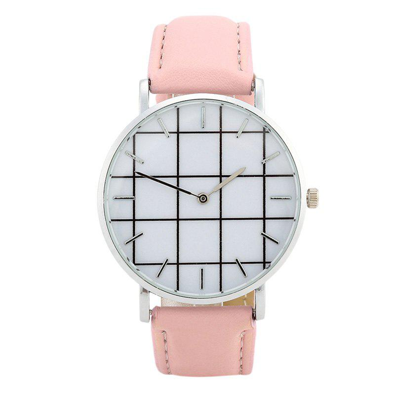 Plaid Face Faux Leather Watch - PINK