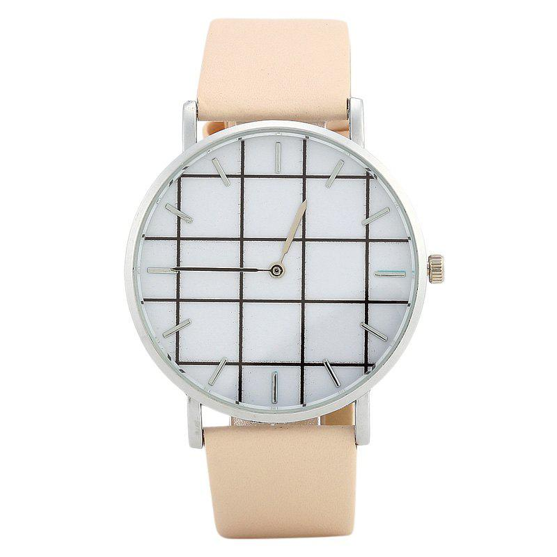 Plaid Face Faux Leather Watch - BEIGE