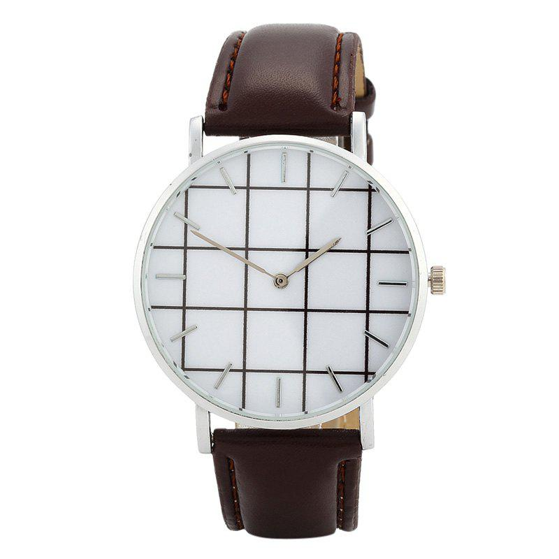 Plaid Face Faux Leather Watch - BROWN
