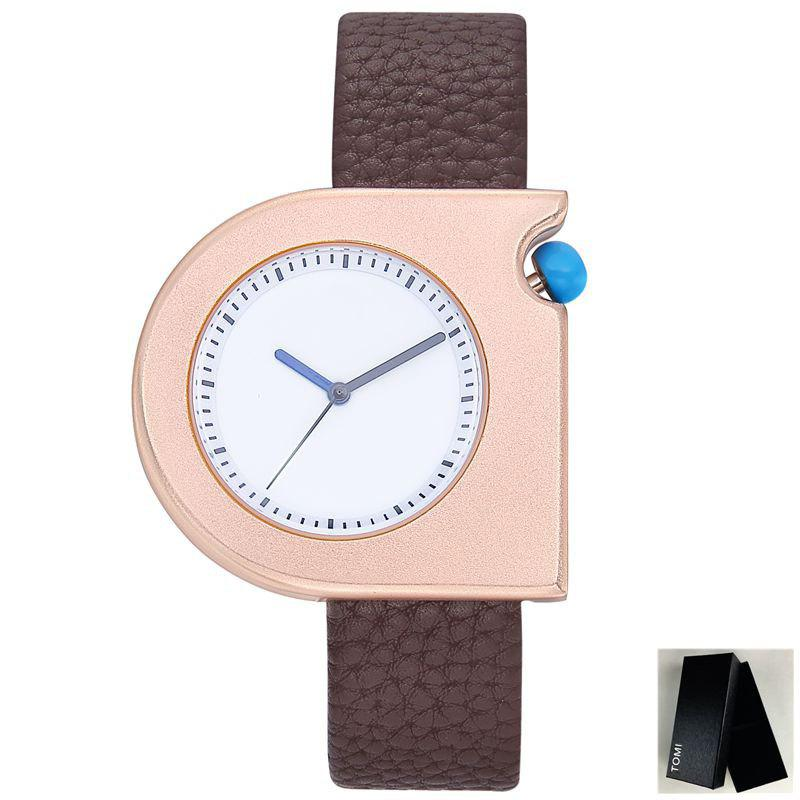 Montre en similicuir Faux Leather Strap - Brun Doré