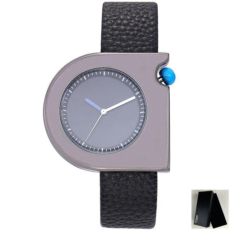 Faux Leather Strap Semicircle Watch - BLACK