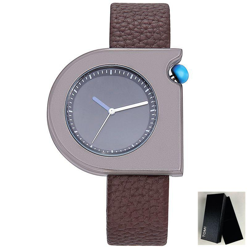 Montre en similicuir Faux Leather Strap - Noir et Brun